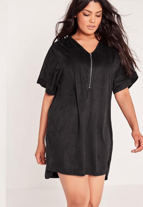 Plus Size Faux Suede Zip Up Shift Dress Black