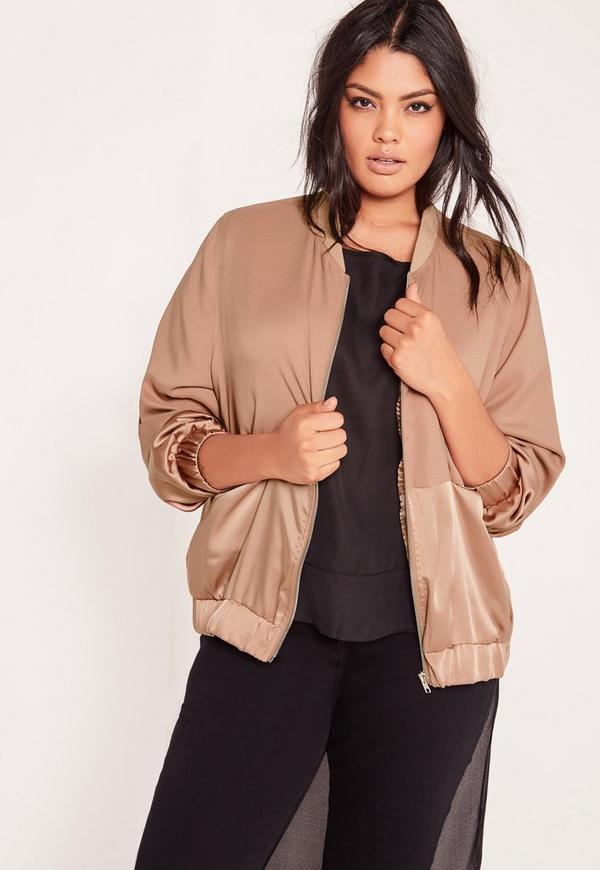 Plus Size Two Tone Satin Bomber Jacket Camel