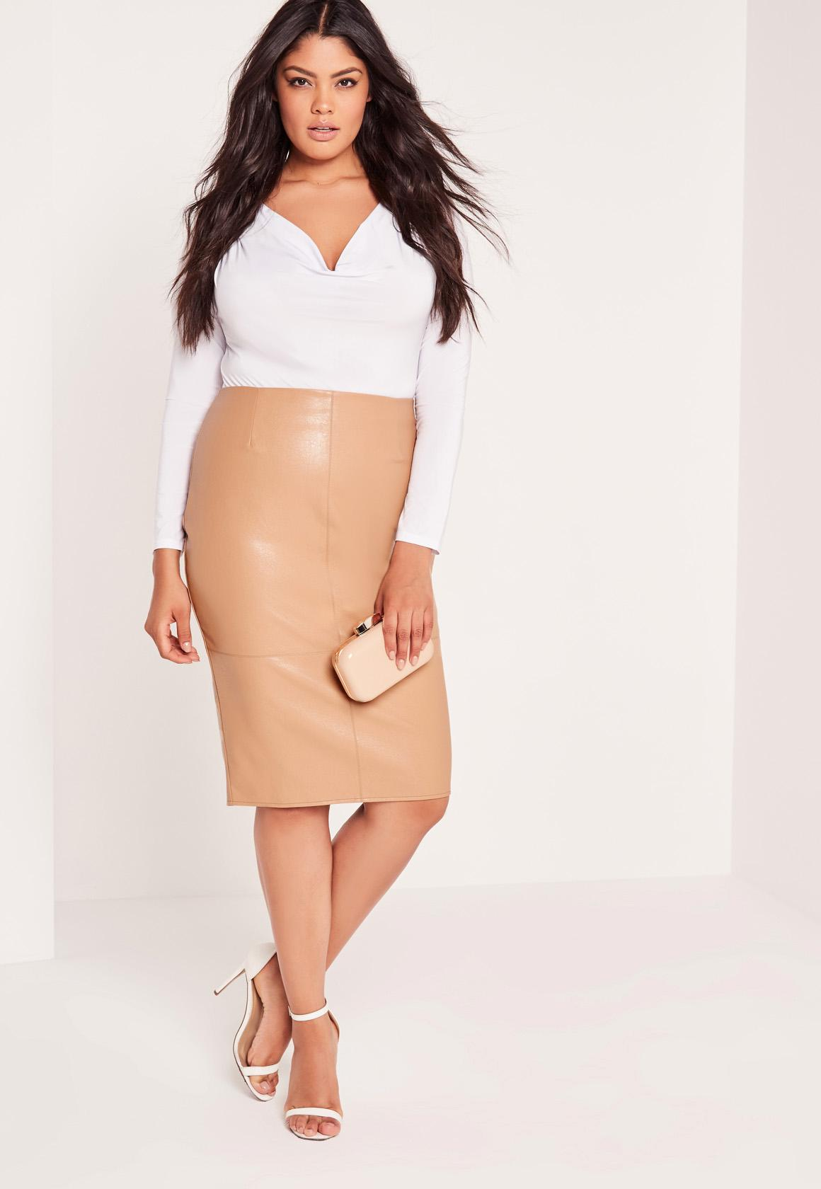 Plus Size Faux Leather Midi Skirt Camel