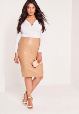 Plus Size Faux Leather Midi Skirt Camel