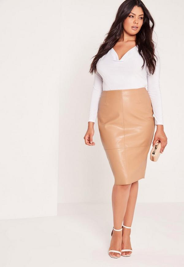 Plus Size Faux Leather Midi Skirt Camel | Missguided