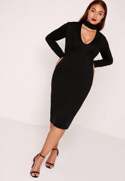 Plus Size Choker Neck Longline Bodycon Dress Black