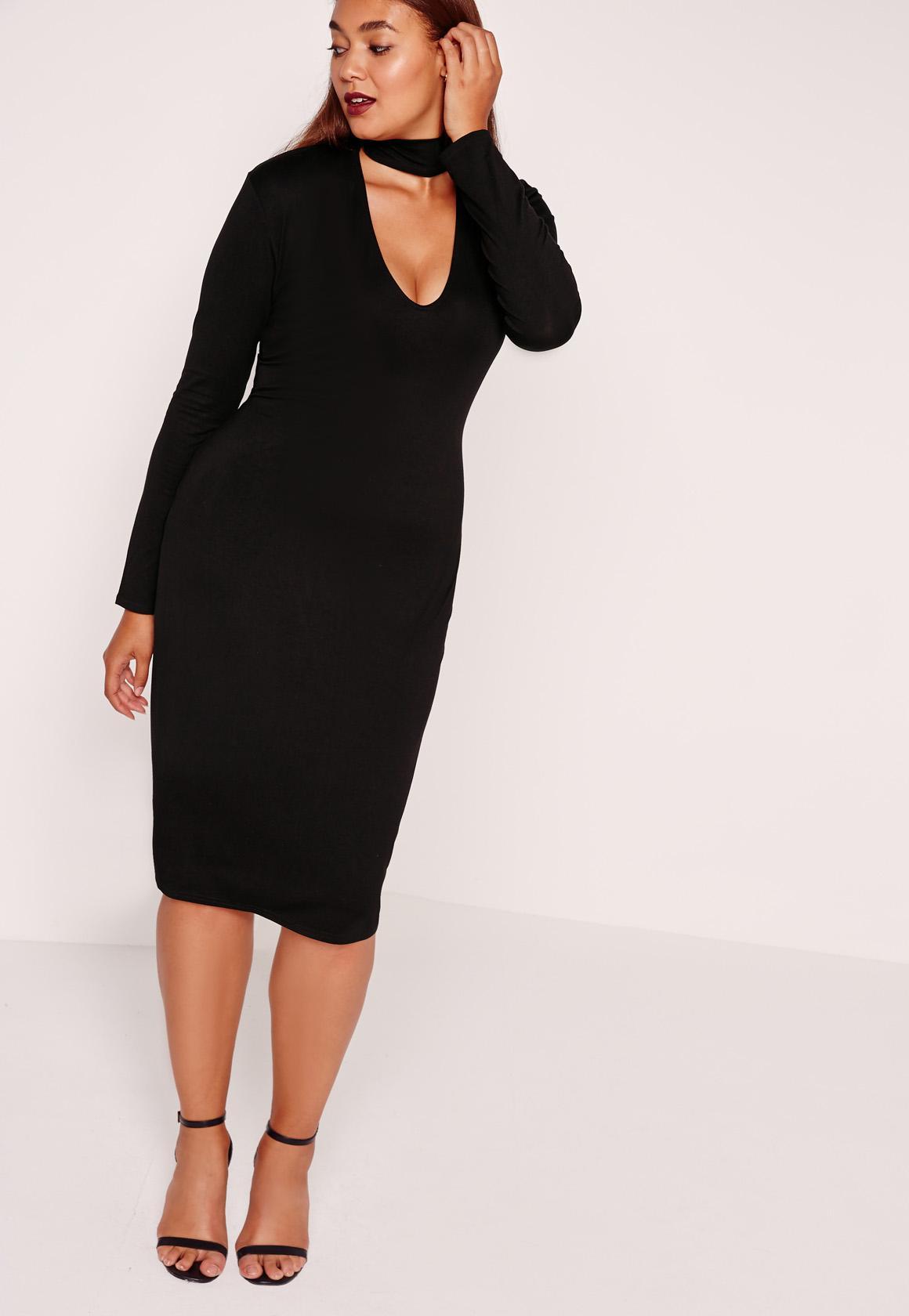 Plus Size Choker Neck Longline Bodycon Dress Black | Missguided