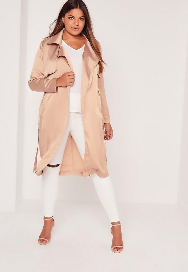 Plus Size Satin Trench Coat Nude