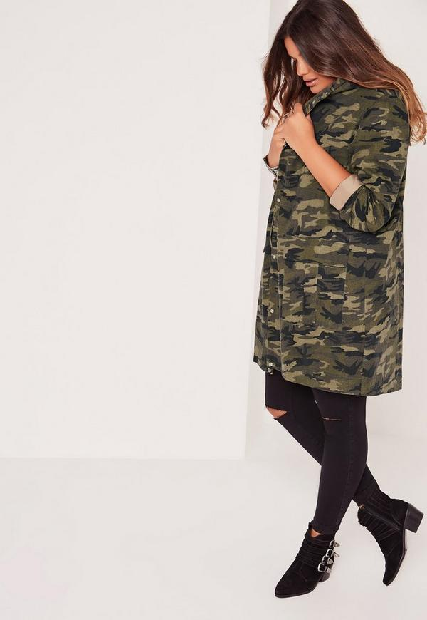 Plus Size Hooded Camo Parka Jacket Khaki