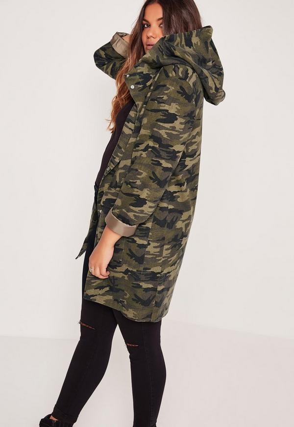 plus size hooded camo parka jacket khaki missguided. Black Bedroom Furniture Sets. Home Design Ideas