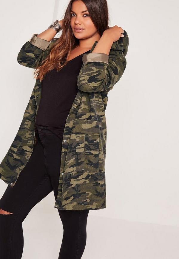 Plus Size Hooded Camo Parka Jacket Khaki | Missguided