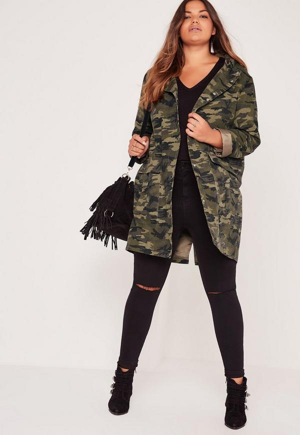Plus Size Hooded Camo Parka Jacket Khaki | Missguided