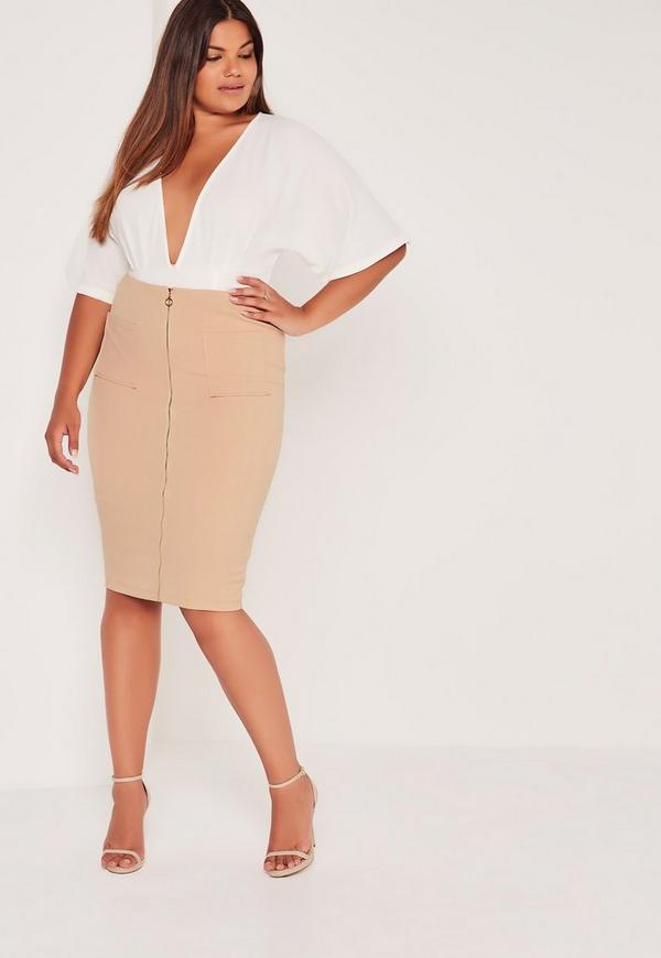 Plus Size Zip Front Pocket Midi Skirt Camel Missguided