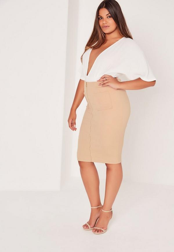 Plus Size Zip Front Pocket Midi Skirt Camel | Missguided Australia
