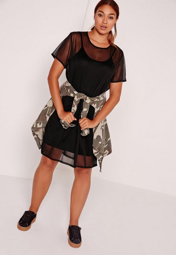 Plus Size Mesh T Shirt Dress Black | Missguided