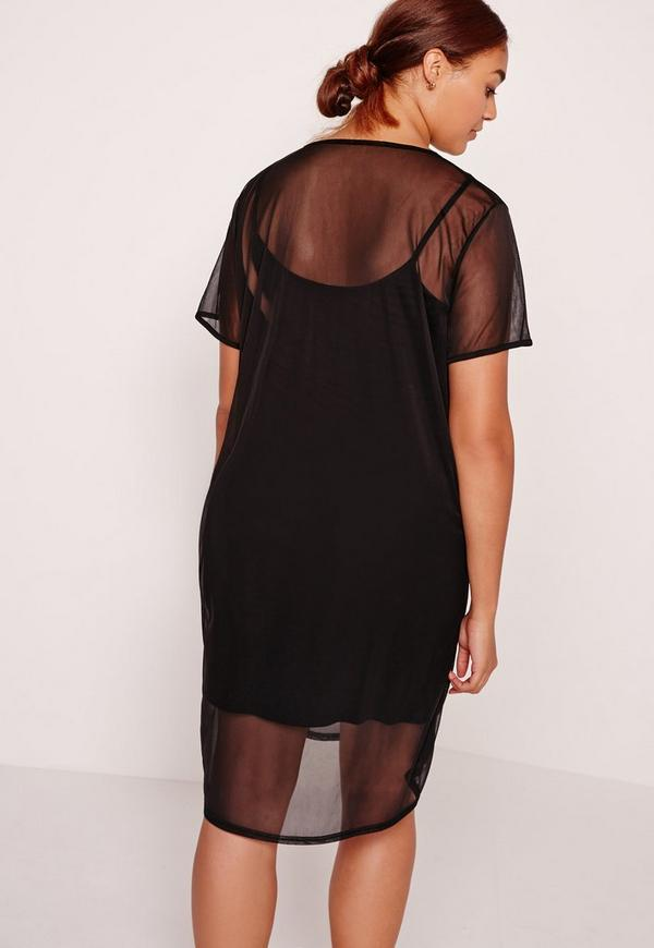 plus size mesh t shirt dress black | missguided