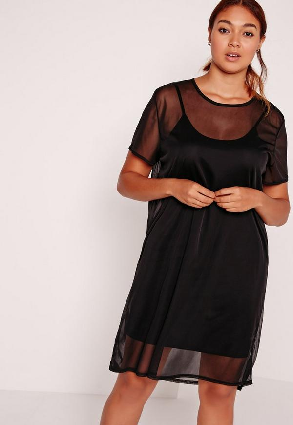 Plus Size Mesh T Shirt Dress Black Missguided