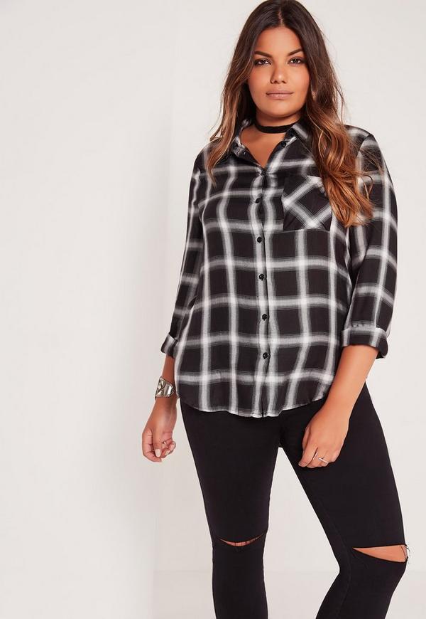 Plus Size Checked Shirt Black