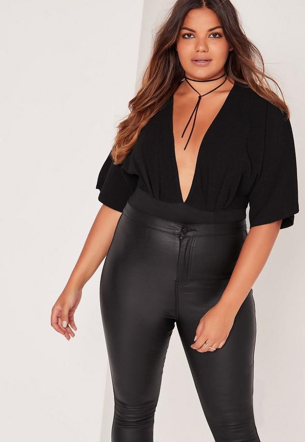 Plus Size Kimono Bodysuit Black