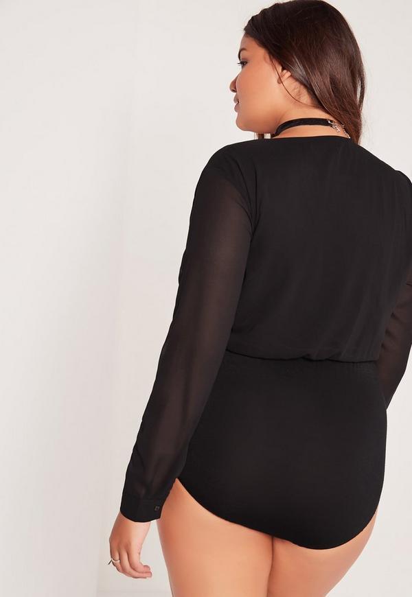 plus size wrap blouse bodysuit black   missguided australia