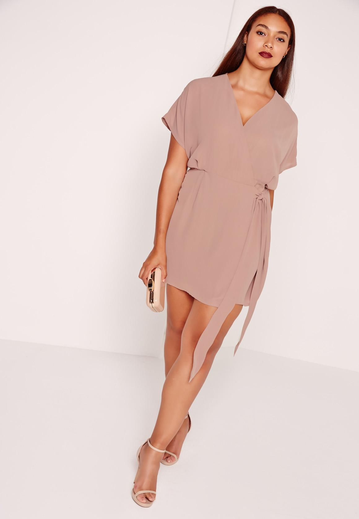 Plus Size Kimono Sleeve Wrap Dress Brown