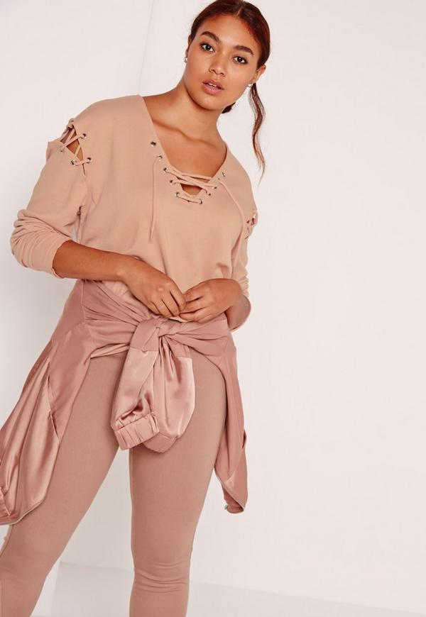 Plus Size Lace Up Sweatshirt Camel