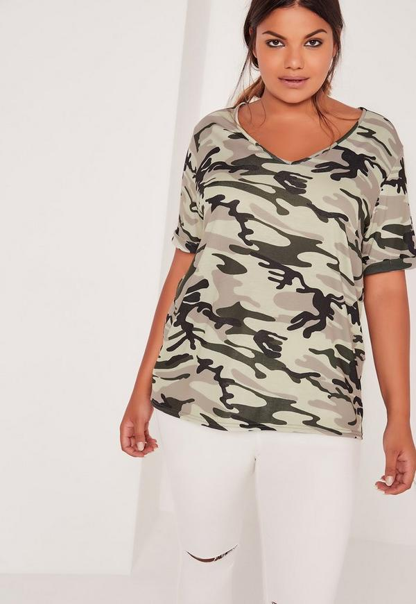 Plus Size V Neck Camo T Shirt Khaki