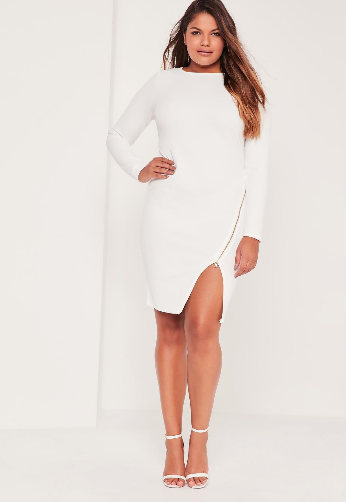 Plus Size zip Front Bodycon Dress White | Missguided