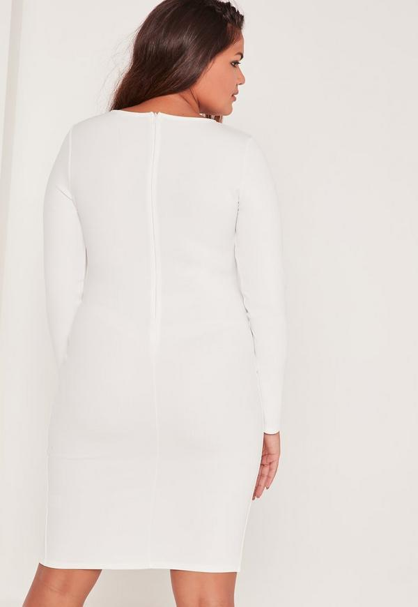 Plus Size Zip Front Bodycon Dress White Missguided