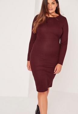 Plus Size Long Sleeve Ribbed Midi Dress Burgundy