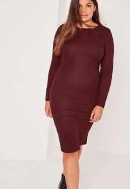 Plus Size Long Sleeve Ribbed Midi Dress Burgundy