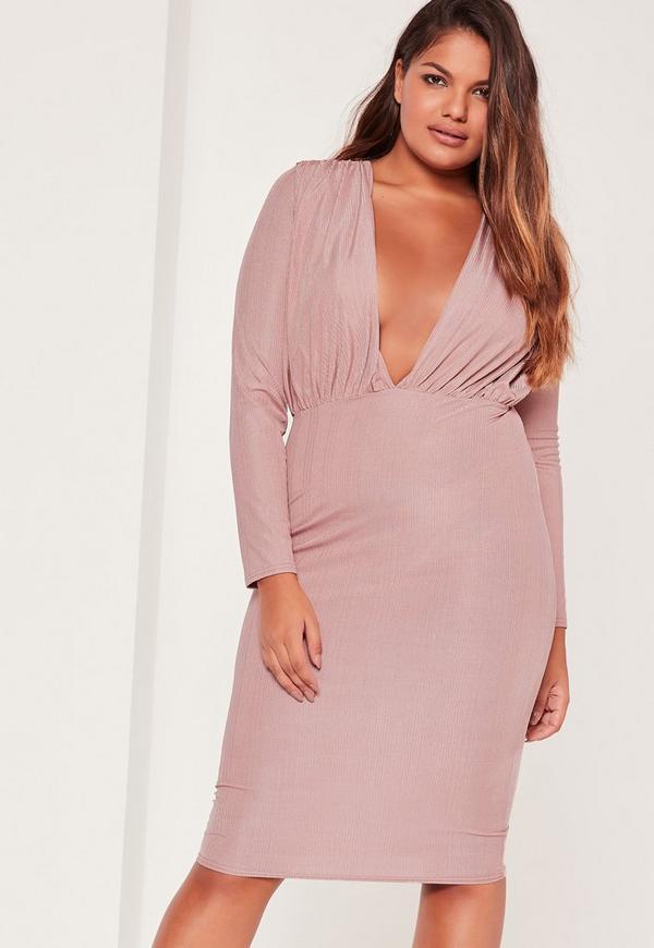 Plus Size Slinky Rib Plunge Midi Dress Purple
