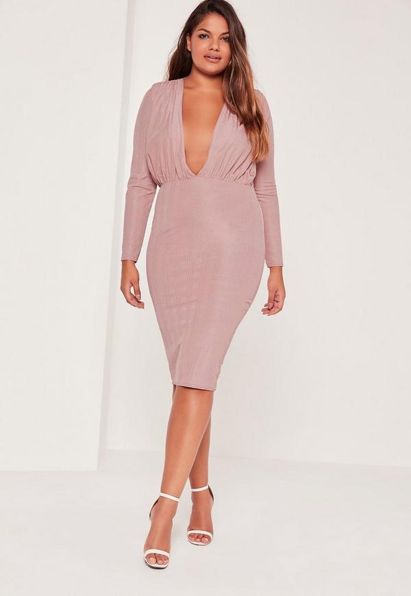 Plus Size Slinky Rib Plunge Midi Dress Purple | Missguided