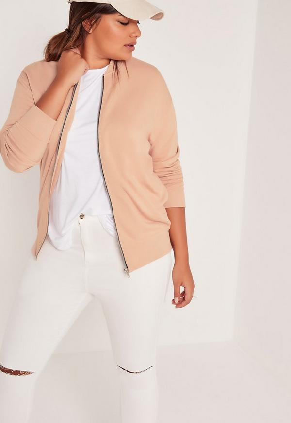 Plus Size Loop Back Bomber Jacket Camel