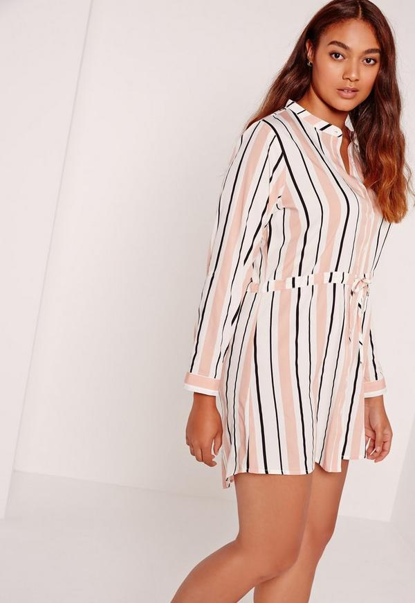 Plus Size Tie Waist Striped Shirt Dress Multi