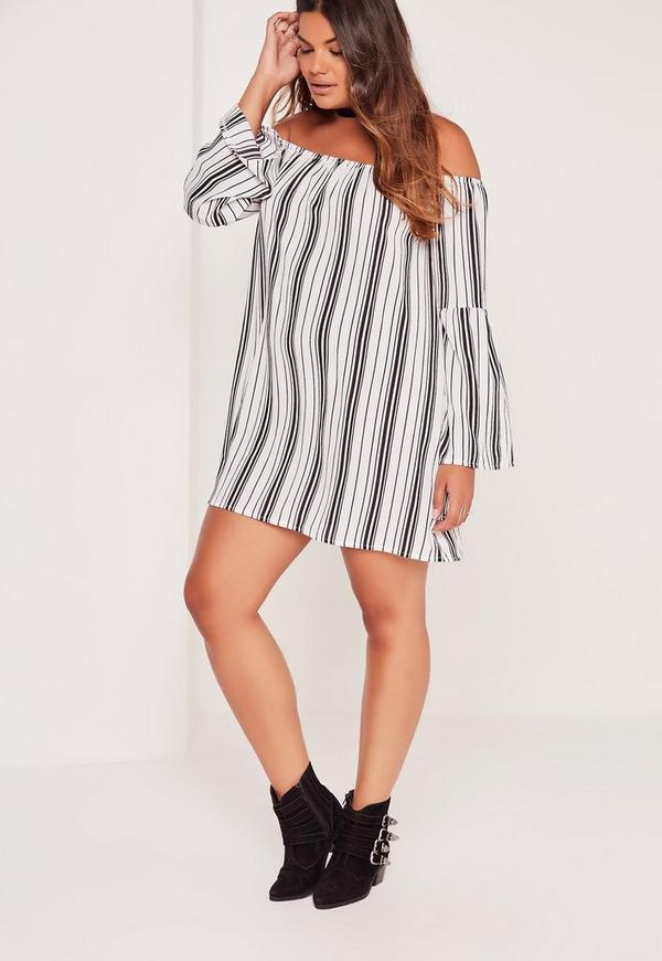 Plus Size Striped Bardot Dress White