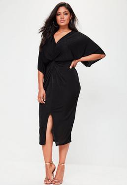 Vestido midi estilo kimono de talla grande ceñido negro