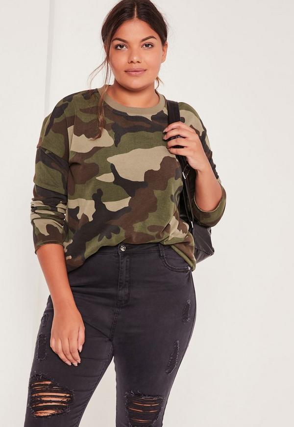 Plus Size Camo Sweatshirt Khaki