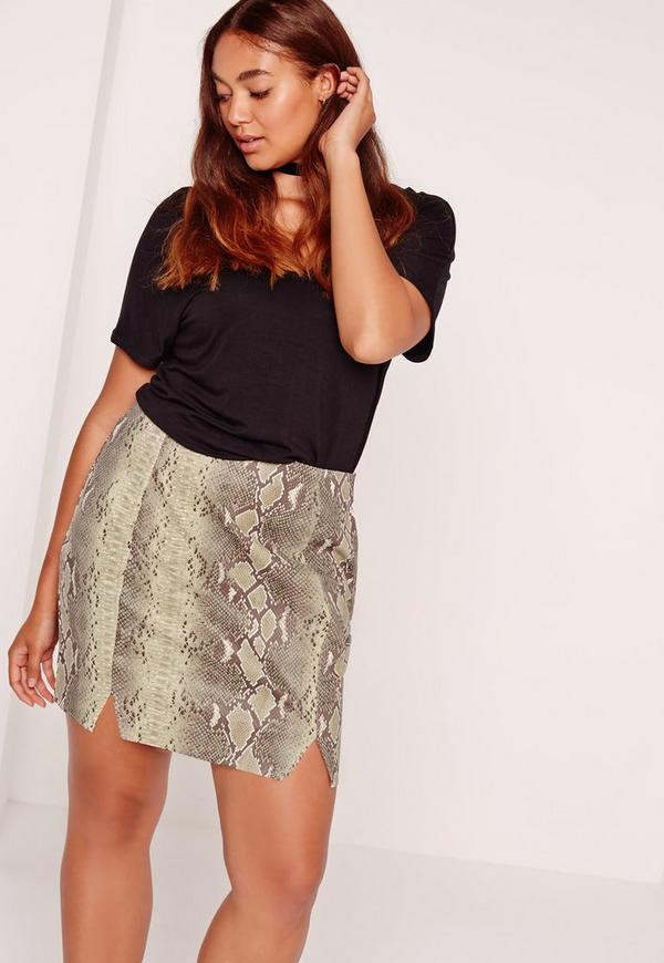 Plus Size Snake Faux Leather Mini Skirt Khaki