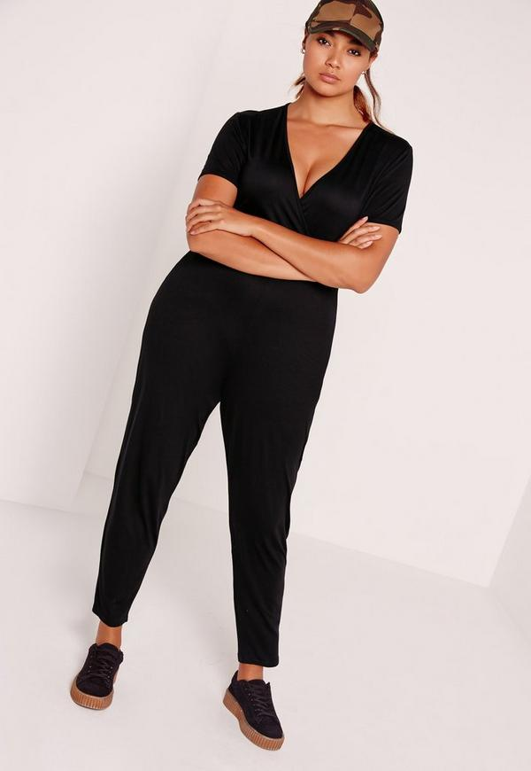 Plus Size Jersey Wrap Jumpsuit Black