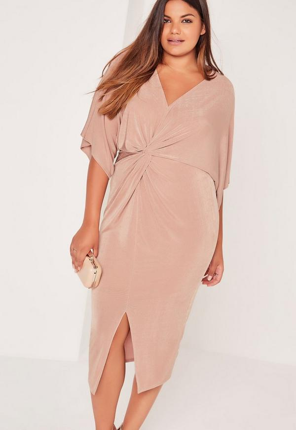 Plus Size Slinky Kimono Midi Dress Pink Missguided