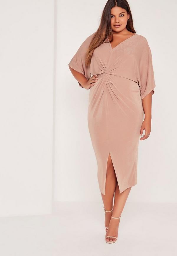 plus size slinky kimono midi dress pink | missguided