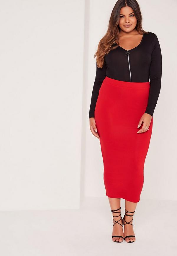 Plus Size Long Line Jersey Midi Skirt Red