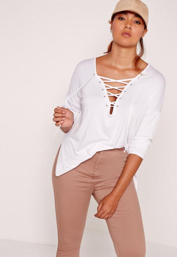 Plus Size Long Sleeve Lace Up Top White