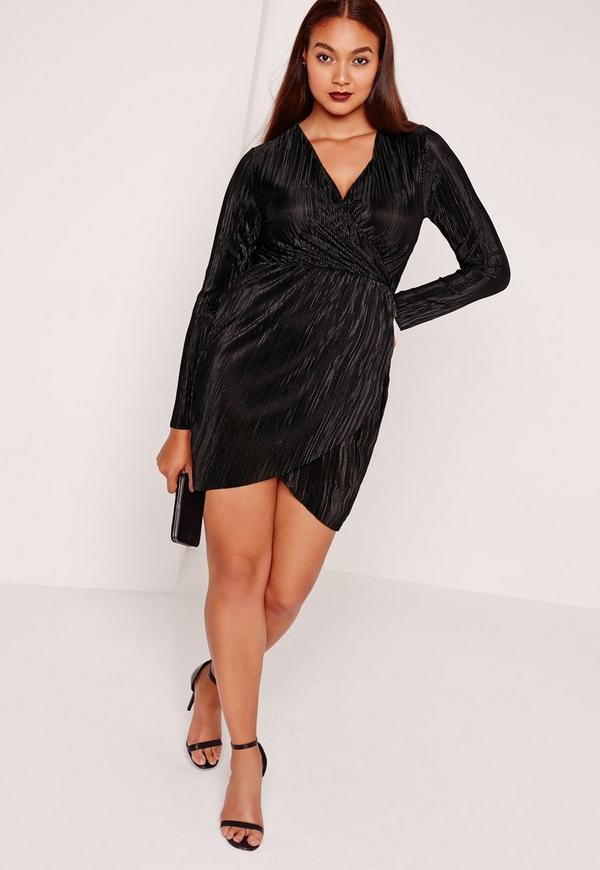Pluz Size Pleated Wrap Dress Black