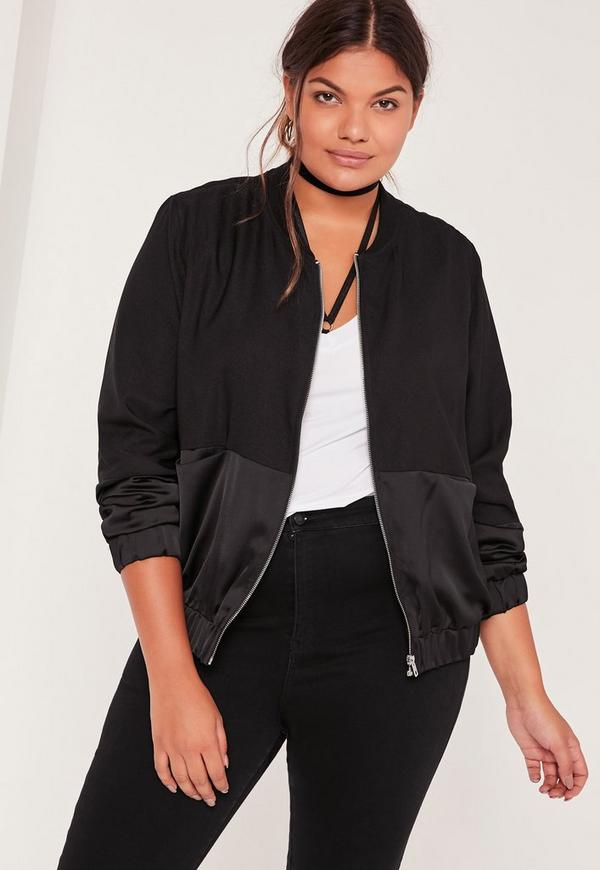 Plus Size Satin Two Tone Bomber Jacket Black