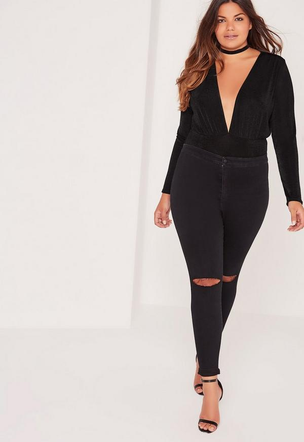 Plus Size Slinky Plunge Bodysuit Black
