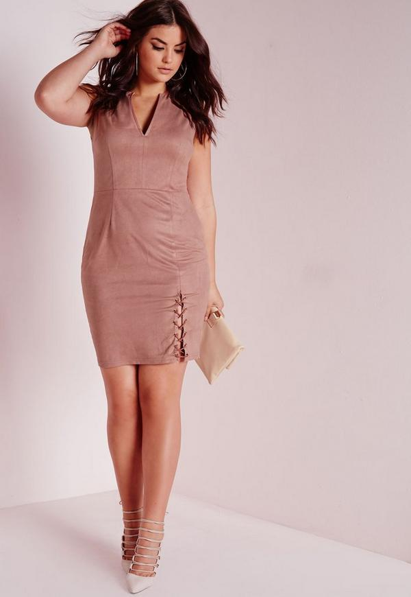 Plus Size Faux Suede Dress Nude