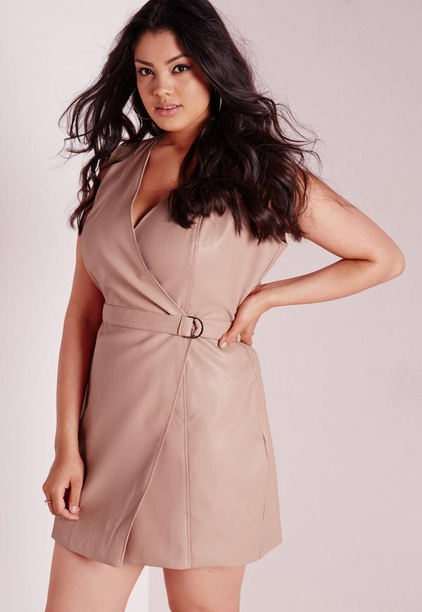 Plus Size Faux Leather Belt Dress Nude
