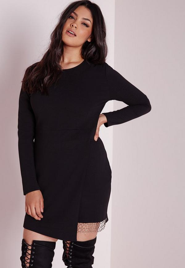Plus Size Chain Hem Midi Dress Black
