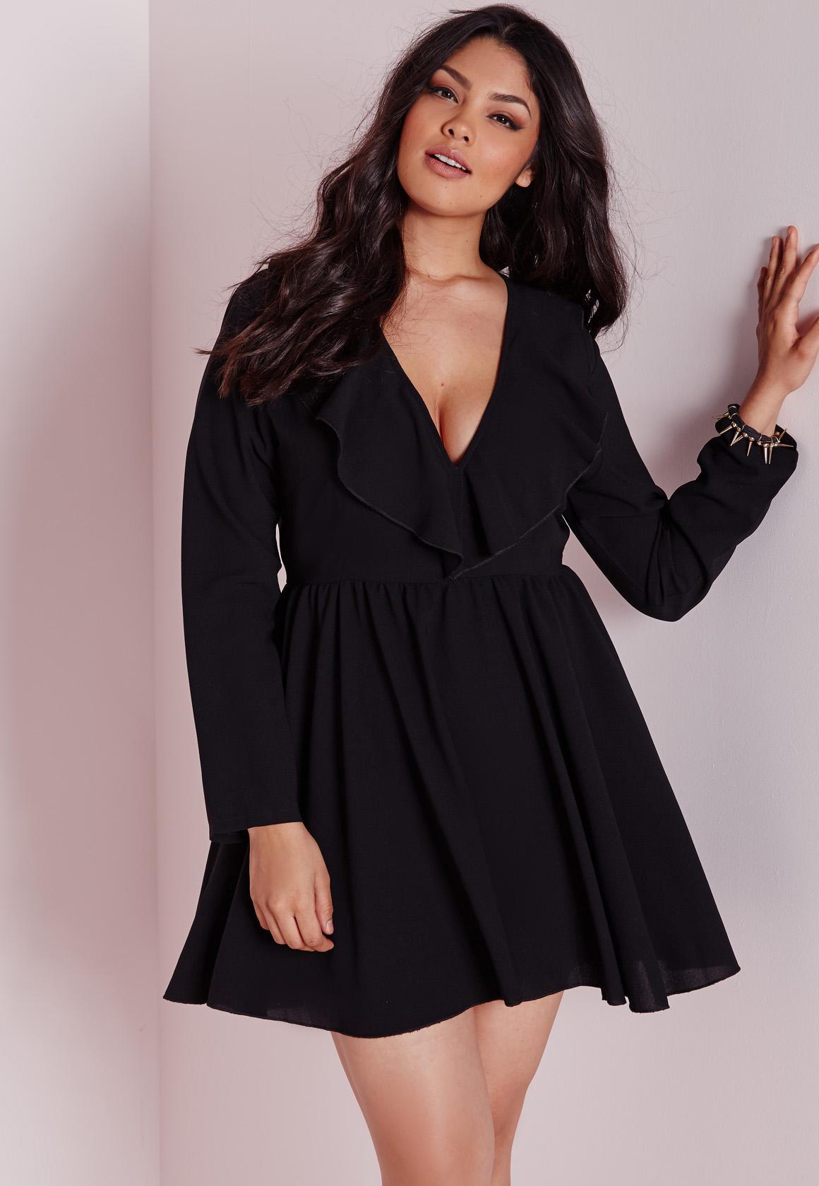 Plus Size Frill Swing Dress Black   Missguided