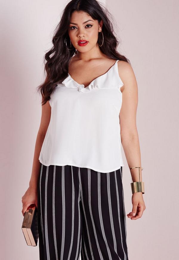 Plus Size Frill Neck Cami Top White