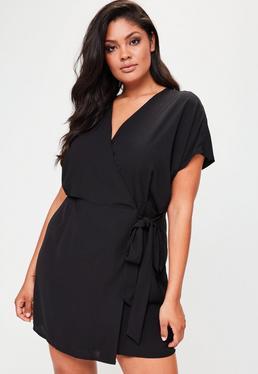 Plus Size Kimono Sleeve Wrap Dress Black