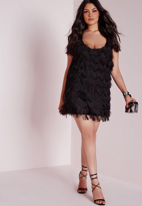 Plus Size Fluffy Dress Black